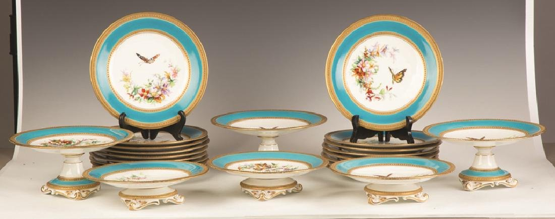 French Hand Painted Porcelain Luncheon Set - 2
