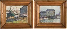 George Renouard (American, 1884-1954) Two dock scenes