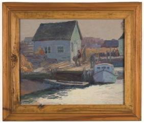 George Renouard (American, 1884-1954) Dock Scene