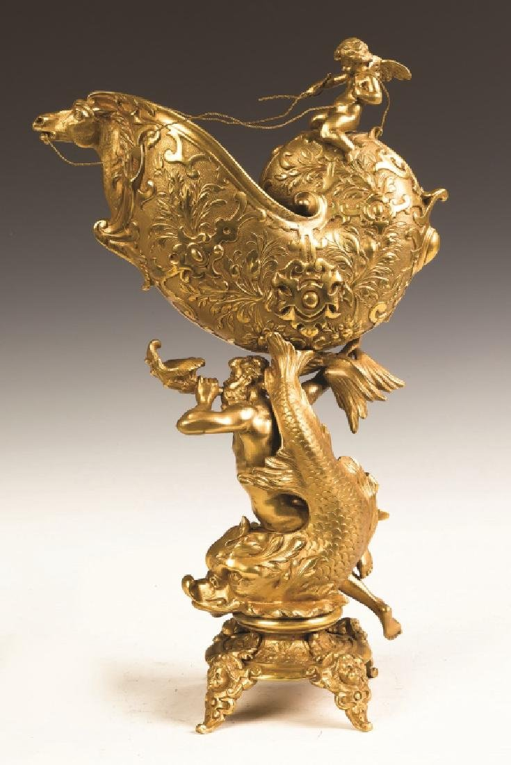 French Gilt Bronze Nautilus Shell Vase - 3