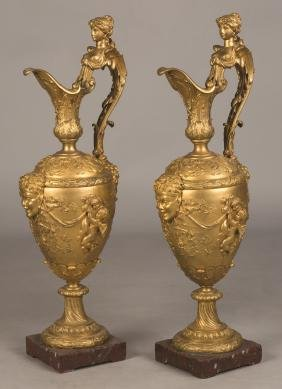 Pair of French Gilt Bronze Ewers, in the Manner of