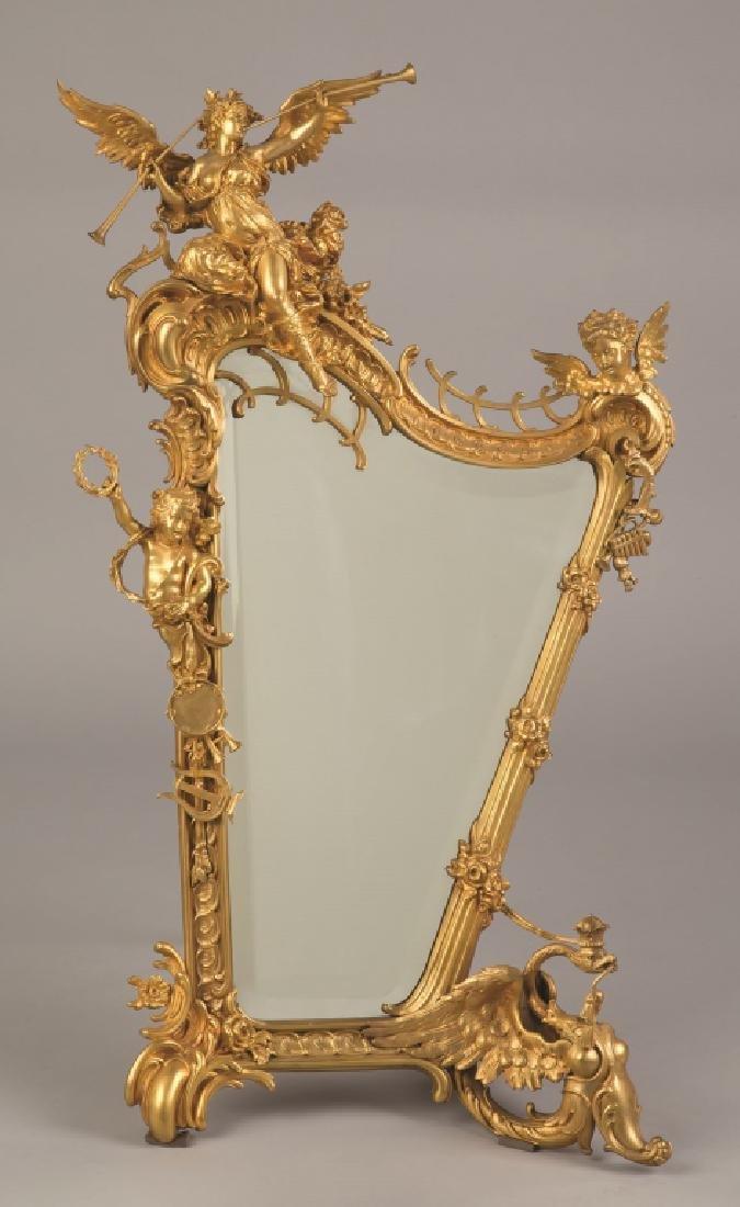 A  Fine Gilt Bronze Harp Form Mirror