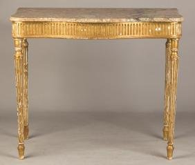 French Gilt Wood and Marble Top Console Table