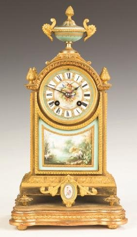 French Gilt Bronze and Porcelain Mantle Clock