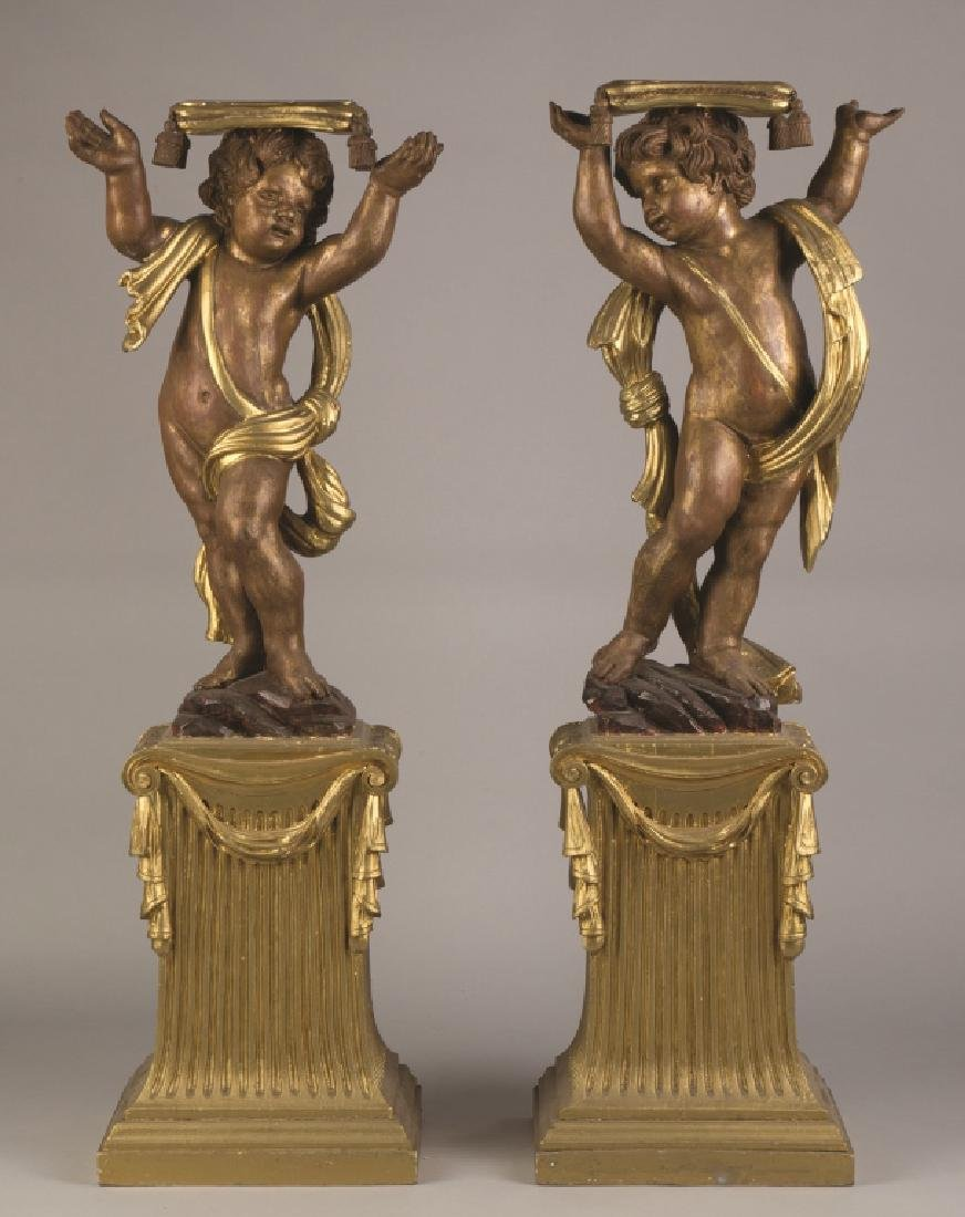 Carved and Painted Putti Stands