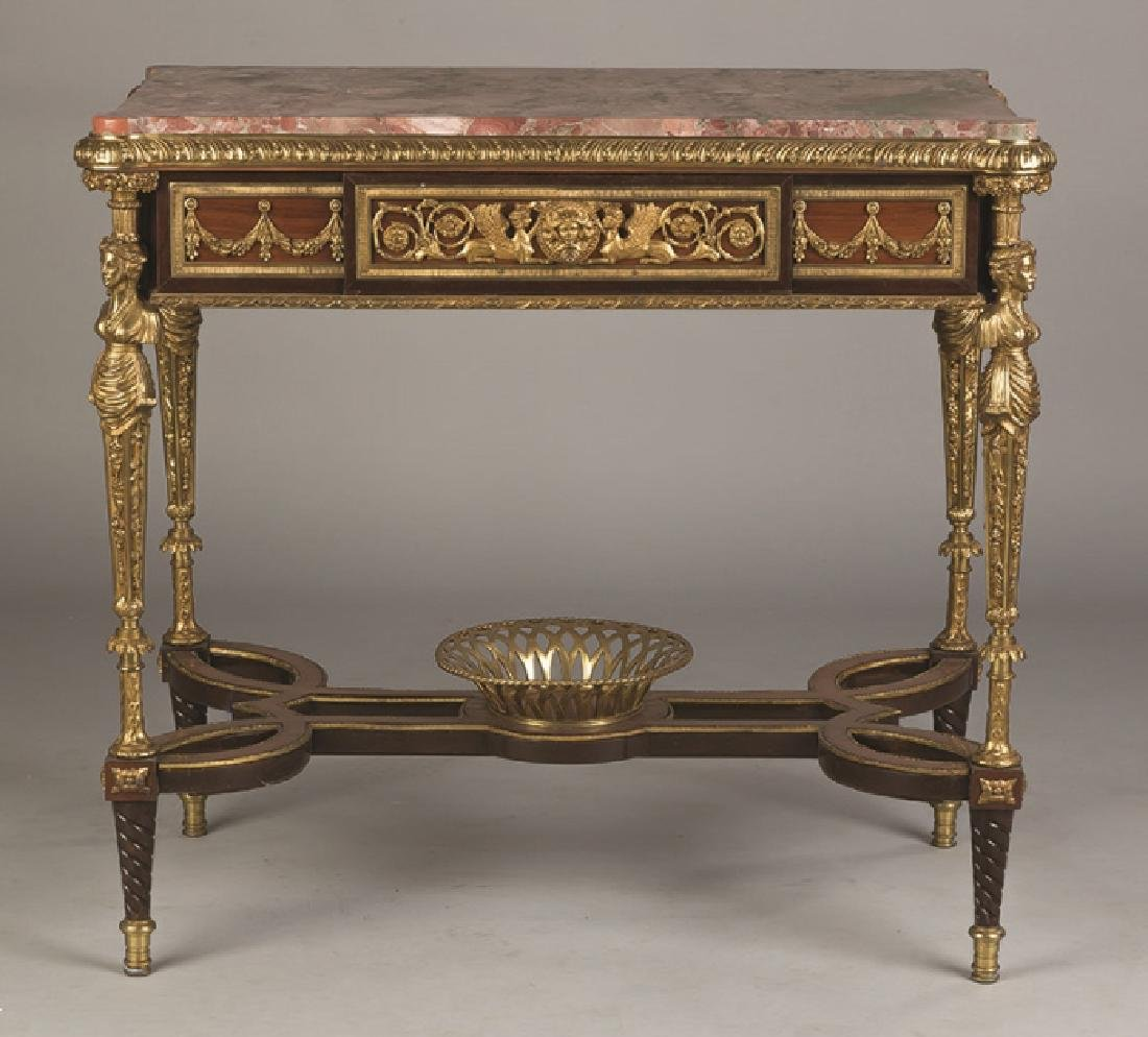 French Style Mahogany and Gilt Bronze Side Table with