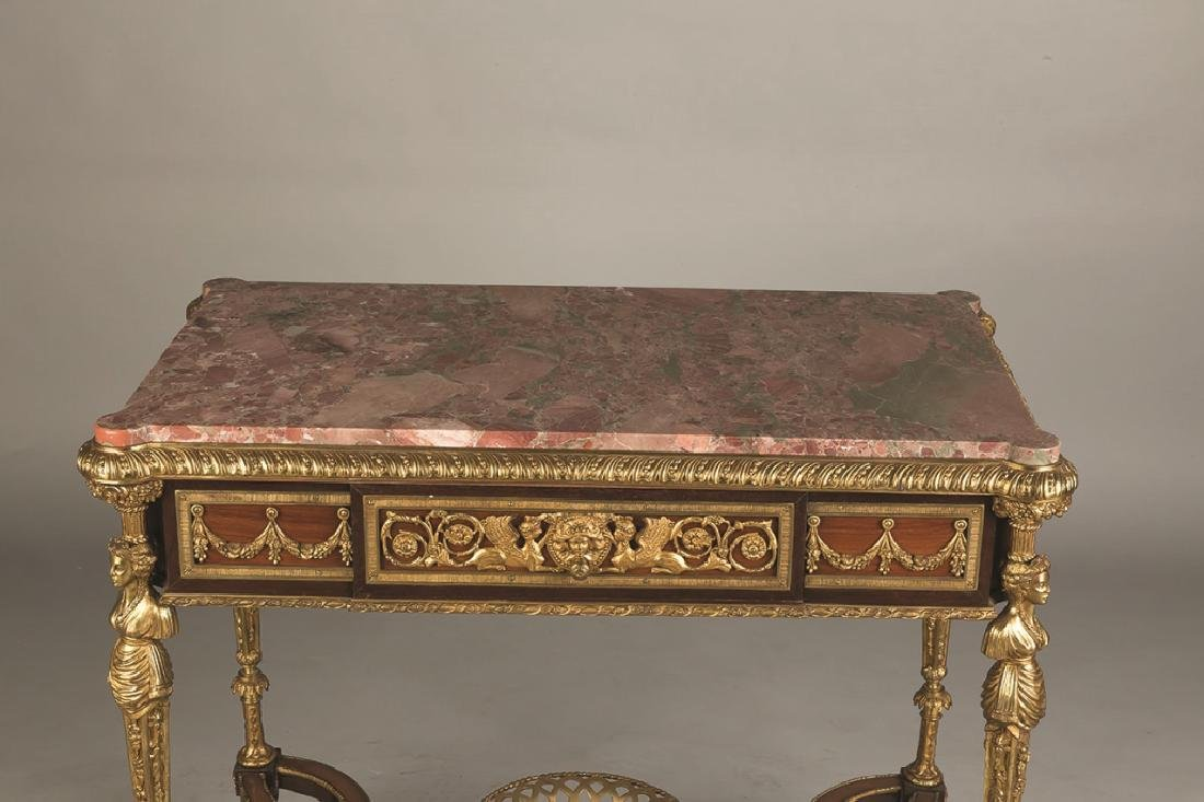 French Style Mahogany and Gilt Bronze Side Table with - 2