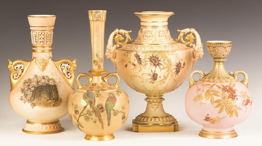 Group of Four Royal Worcester Hand Painted and
