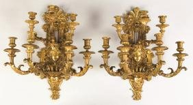 Pair of French Gilt Bronze 7-Arm Wall Sconces