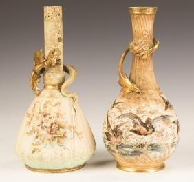 Two Teplitz Hand Painted Vases