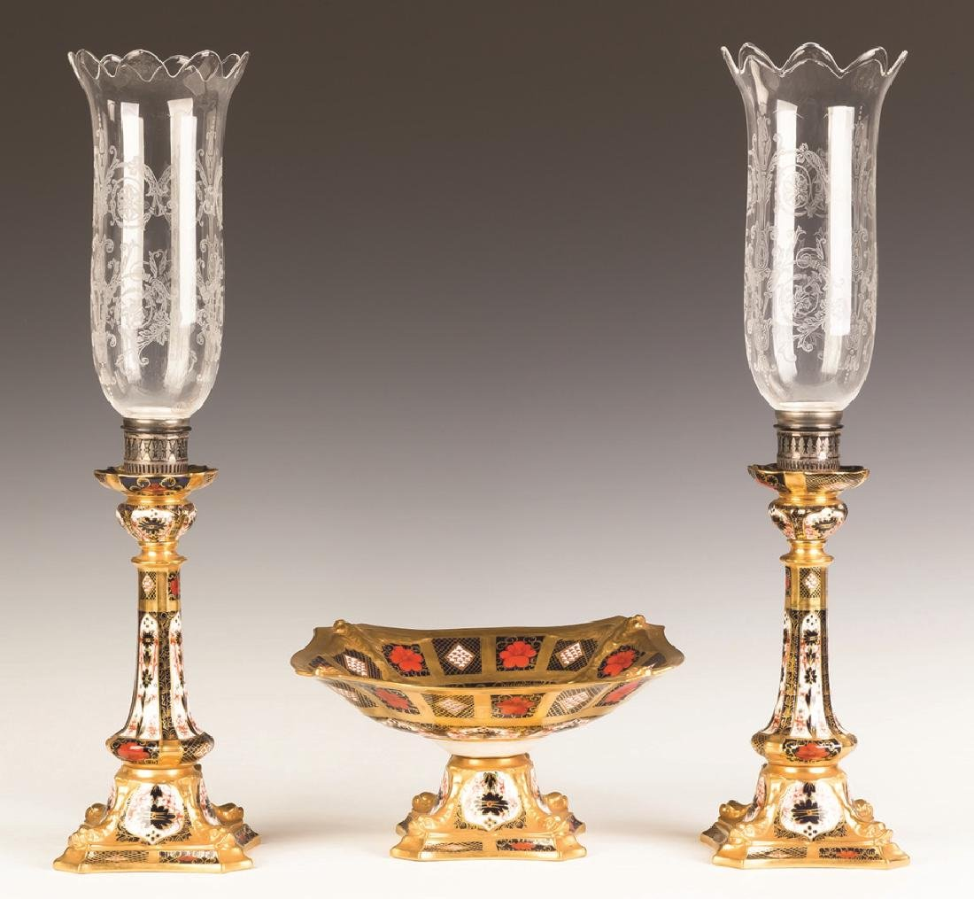 Royal Crown Darby Compote with Matching Candlesticks