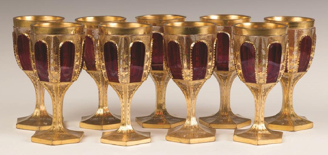Bohemian Cranberry and Gold Leaf Goblets
