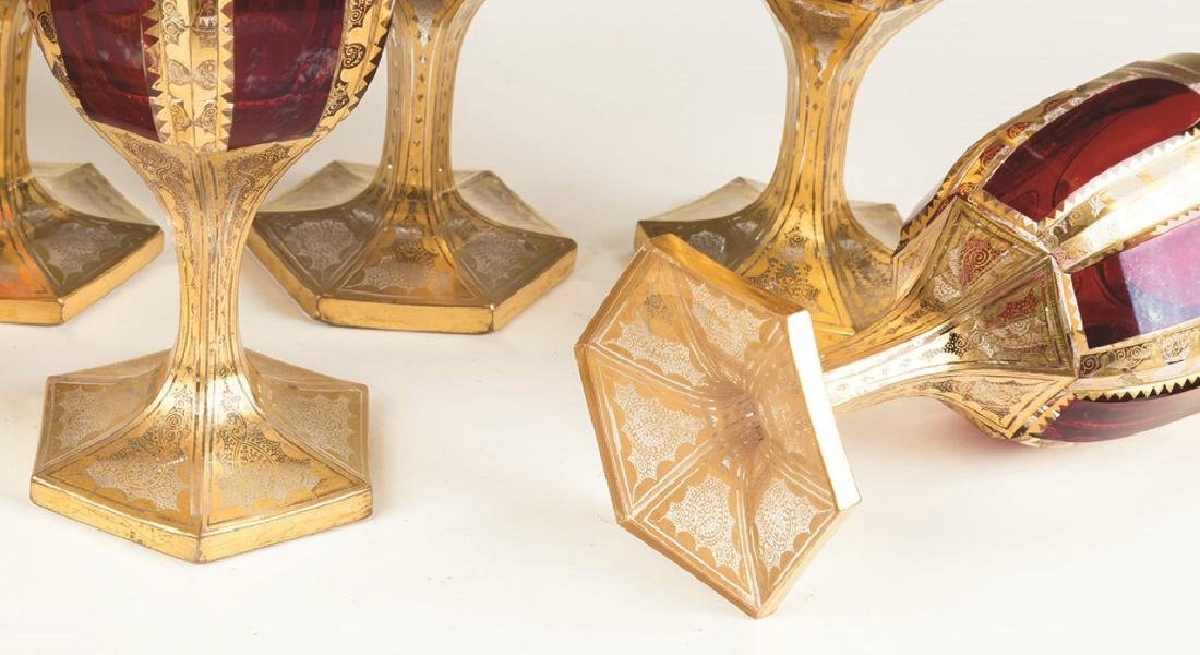 Bohemian Cranberry and Gold Leaf Goblets - 2