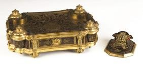 Boulle and Gilt Bronze Desk Set with Inkwells with