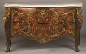 Louis XV Style Serpentine Marble Top Commode