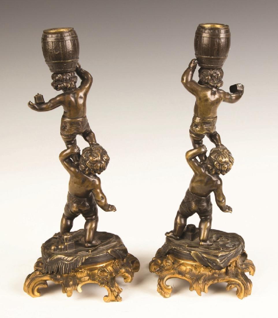 French Bronze and Gilt Bronze Putti Candlesticks