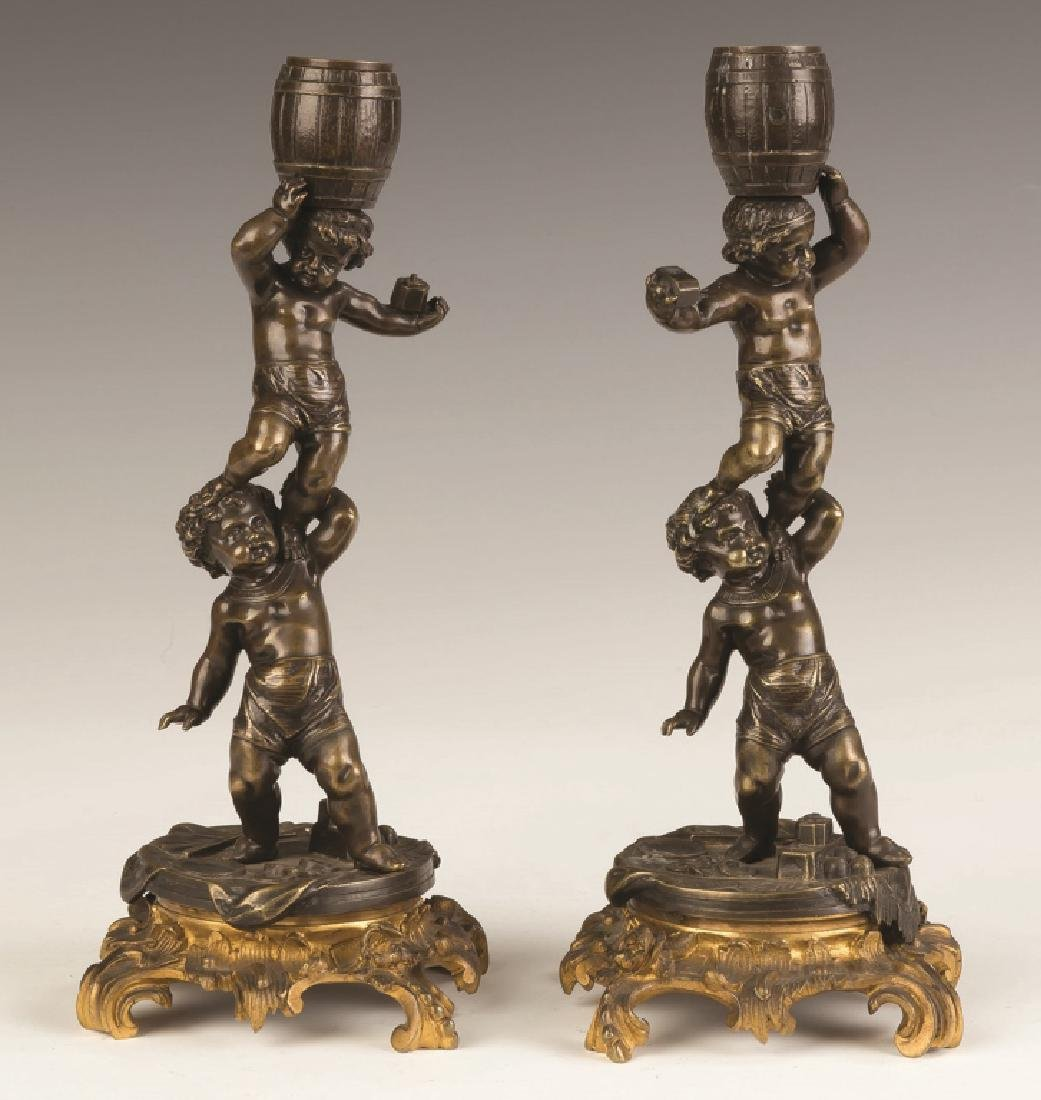 French Bronze and Gilt Bronze Putti Candlesticks - 2