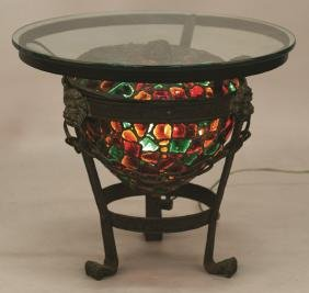Chunk Glass and Wrought Iron Lamp