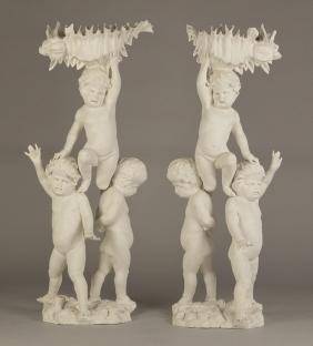 Pair of Carved Putti Pedestals
