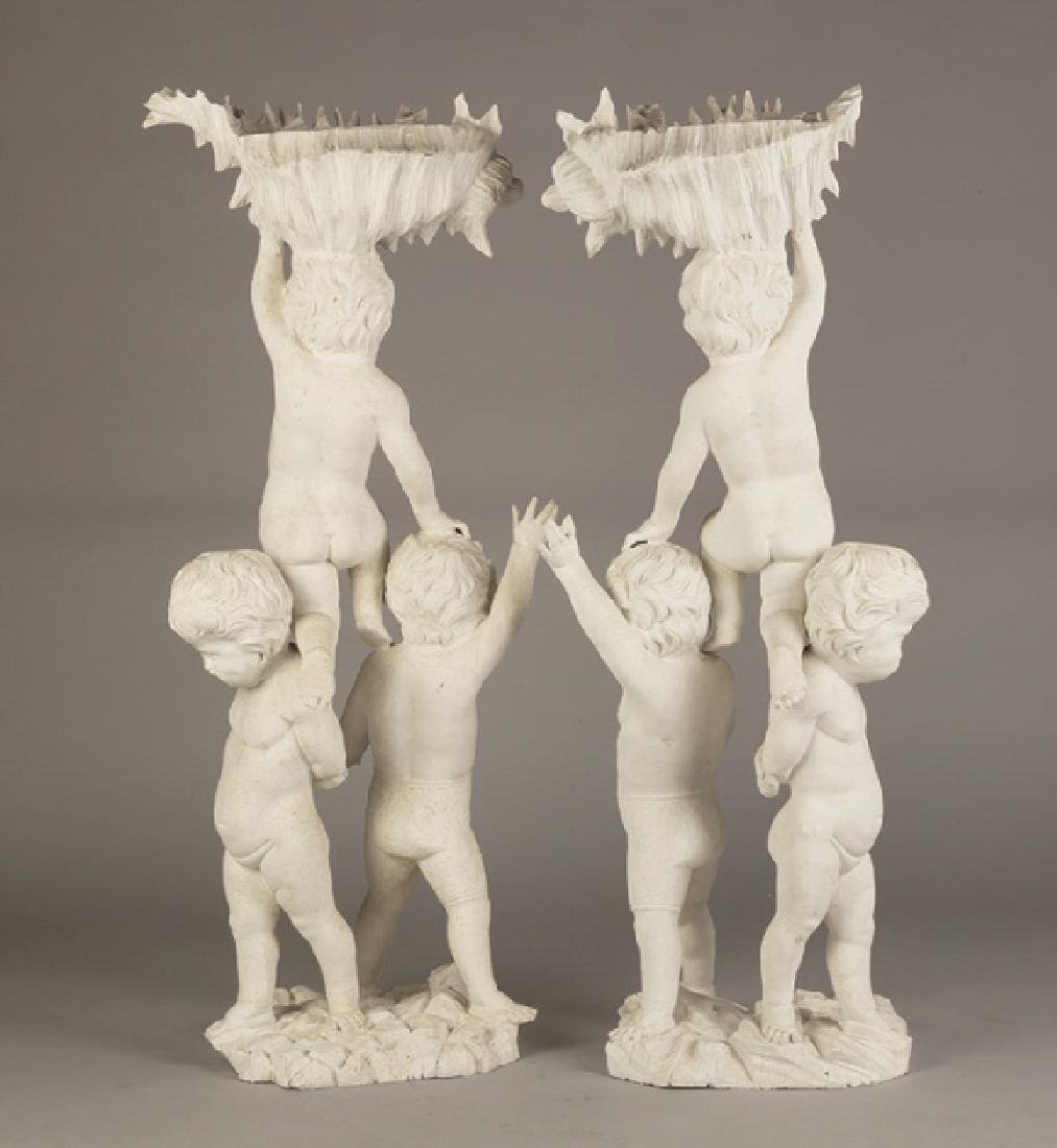 Pair of Carved Putti Pedestals - 2