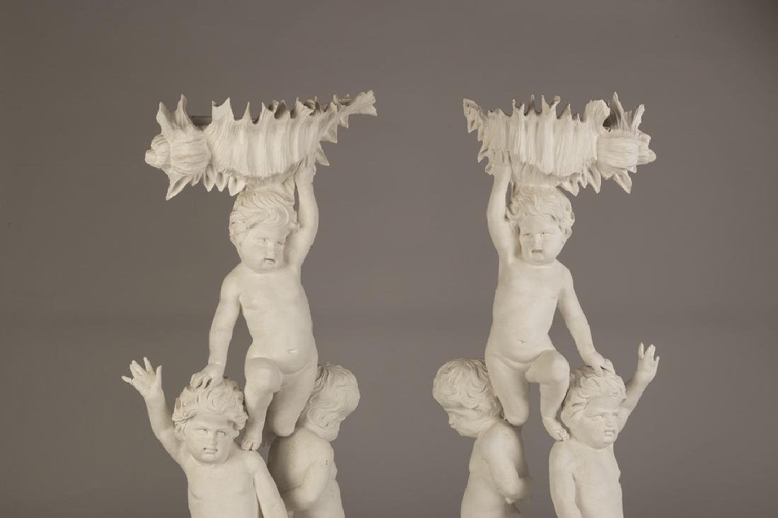 Pair of Carved Putti Pedestals - 3