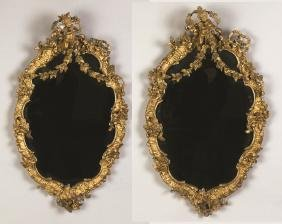 Pair of Continental Gilt Wood Mirrors