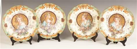 Sevres Porcelain Plates with Art Nouveau Hand Painted