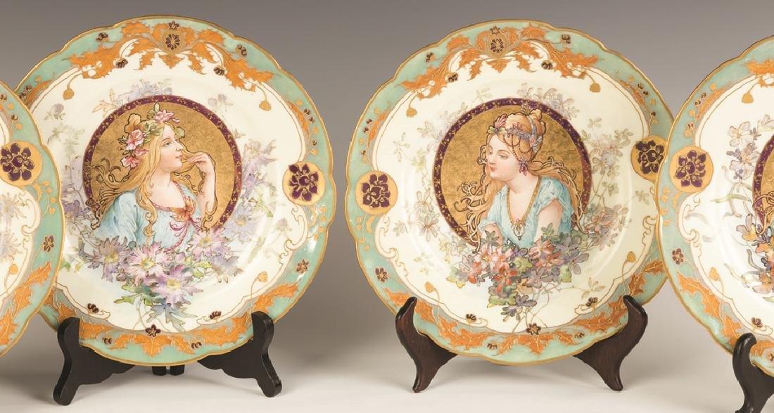 Sevres Porcelain Plates with Art Nouveau Hand Painted - 2
