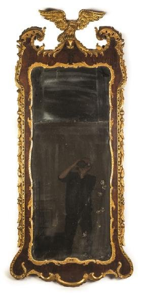 Carved and Gilt Wood Mahogany Pier Mirror with Eagle