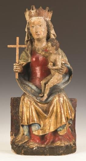 Early Italian Carved and Painted Madonna and  Child