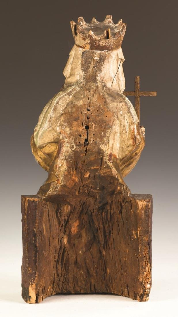 Early Italian Carved and Painted Madonna and  Child - 2