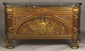 Louis XVI Style Marble Top Commode a Vantaux