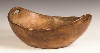 Oval Burl Bowl with Carved Handles