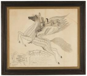 "O.E. Bartlett Calligraphy ""The Poet and Pegasus"""