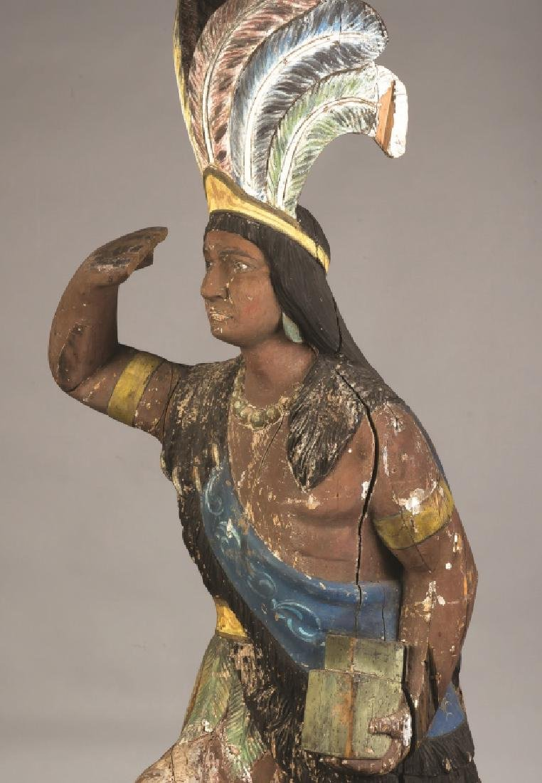 Carved and Painted Cigar Store Indian Chief - 2