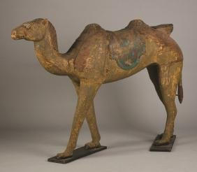 Carved and Painted Walking Camel Carousel Figure
