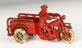 Hubley Cast Iron Indian Crush Car Motorcycle