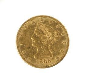 1886 Ten Dollar Liberty Head Gold Coin
