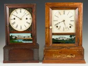 Two J. C. Brown Cottage Shelf Clocks
