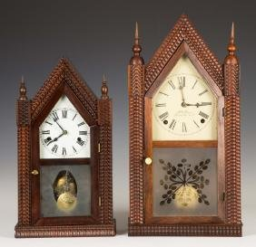 Two J.C. Brown Ripple Front Steeple Shelf Clocks