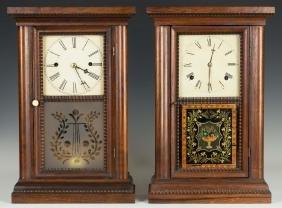 Two Ripple Front Cottage Shelf Clocks