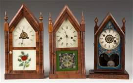 Three Miniature Steeple Shelf Clocks