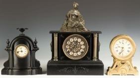 Three Victorian Iron Shelf Clocks