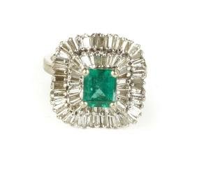 Vintage 14K White Gold, Emerald and Diamond Ring