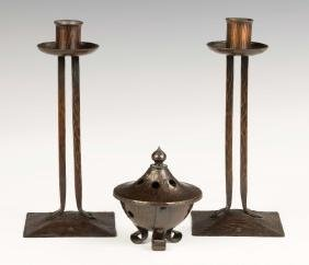Roycroft Hand Hammered Copper Candlesticks and  Incense