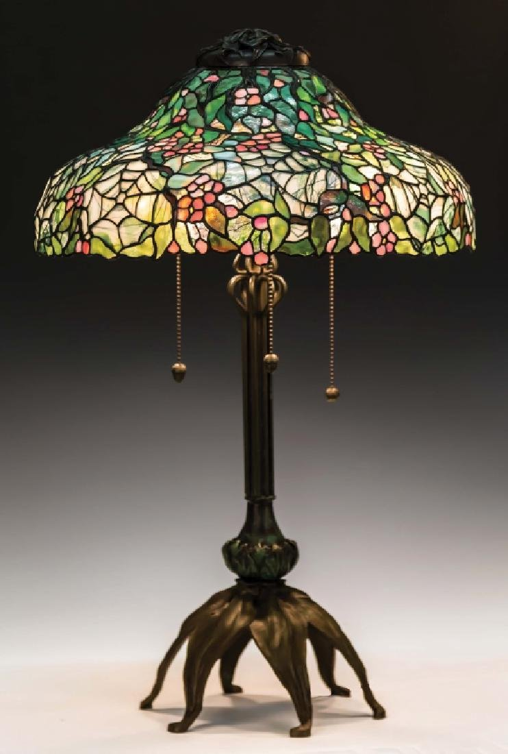 Leaded Glass Table Lamp with Flowers and Spider  Webs