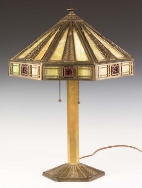 Bradley and Hubbard Art Deco Brass Panel Lamp