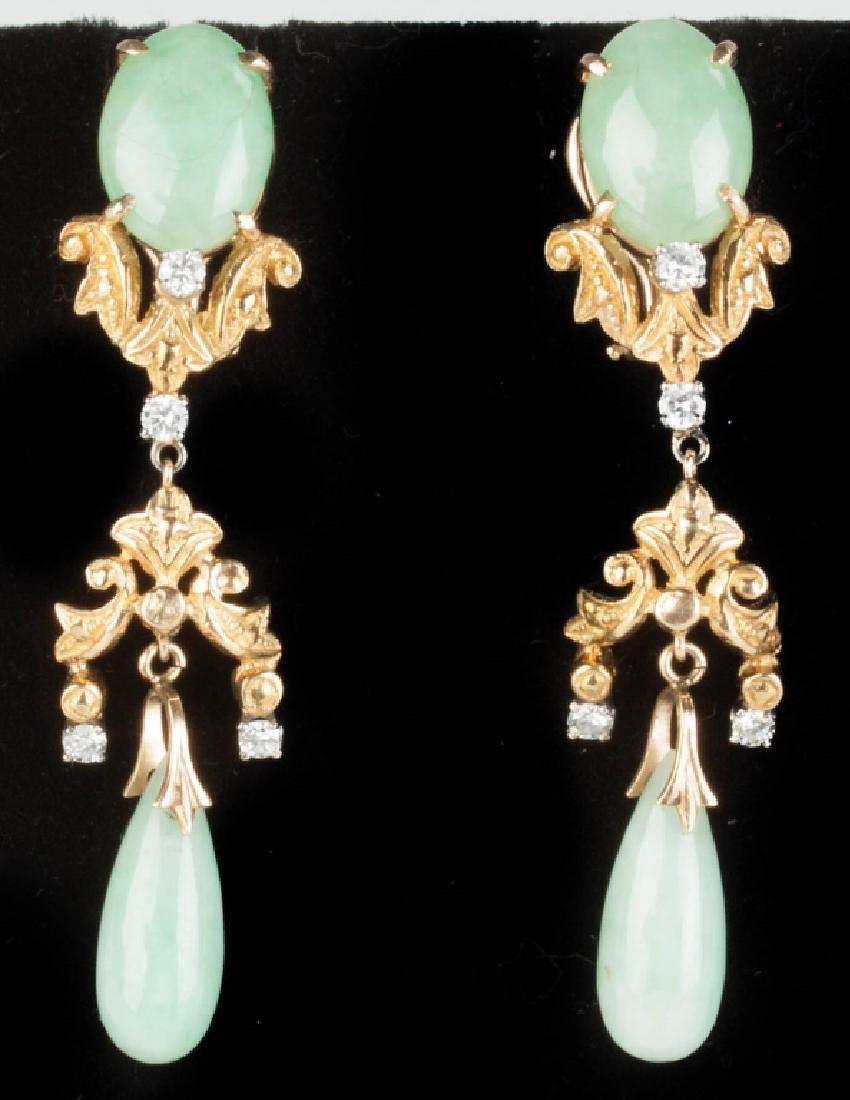 Vintage 14K Gold, Jade and Diamond Earrings