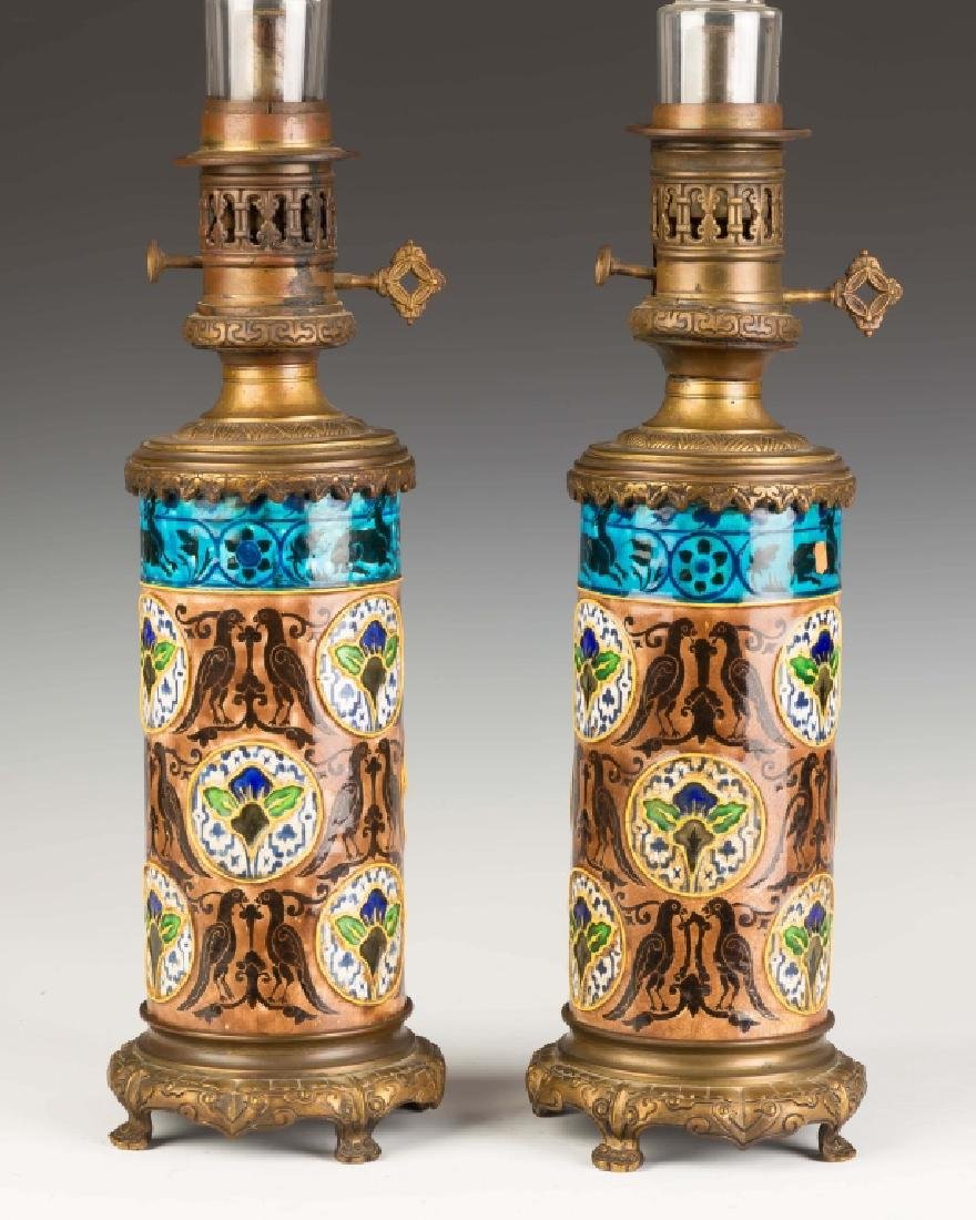 Pair of Victorian Aesthetic Style Oil Lamps