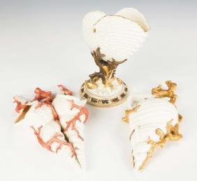 2 Royal Wooster Shell Wall Pockets and Nautilus  Vase